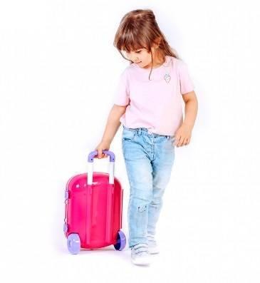 купить чемодан для девочки на колесах розовый