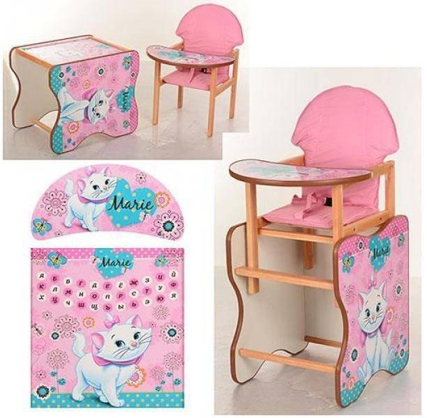 детский стульчик для кормления деревянный мультики M K 110 Vivast