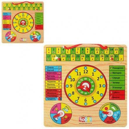 Деревянная игрушка Часы-календарь 0004