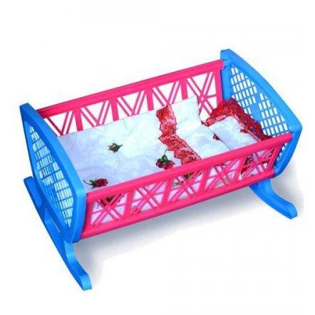 Кроватка для кукол пластмассовая  с постелью  006-1Бамсик