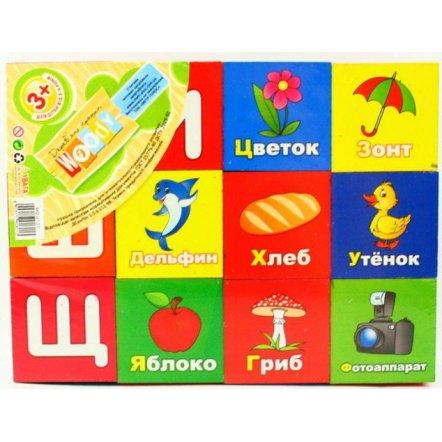 """Кубики деревянные 4 в 1 """"Цифры+буквы+картинки+слова"""" 0127"""