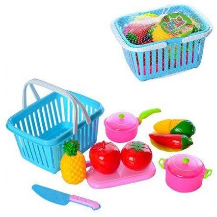Продукты на липучке в корзинке с  досточкой и ножом JJL013-3
