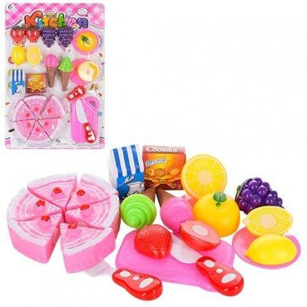 Продукты на липучках Торт со сладостями и фруктами 0147 на планшете