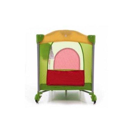 Манеж голубой A 03-8 детский 2 колеса с тормозом, боковым карманом, змейкой в сумке красно-зеленый
