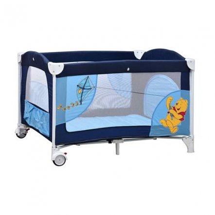 Манеж A 03-5 детский 2 колеса с тормозом, боковым карманом, змейкой  в сумке сине-голубой