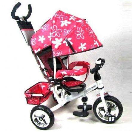 Велосипед Profi Trike M 0448-3 розовый с цветочками c тормозами