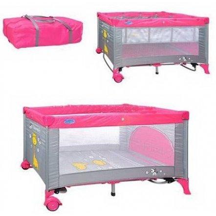 """Манеж-кровать качалка M 0525 детский розовый двухуровневый на змейке """"Bambi"""""""