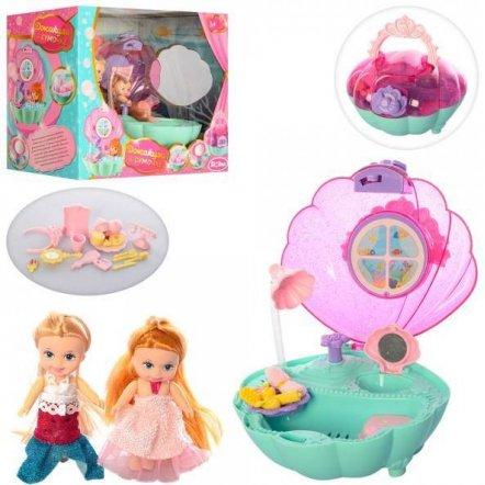 Мебель ванная комната в ракушке+2 куклы  QL053-2