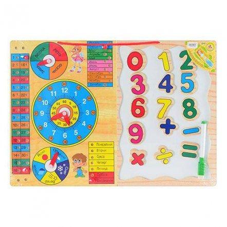 Деревянная игрушка Часы-календарь + магнитная доска с цифрами 0647. УЦЕНКА