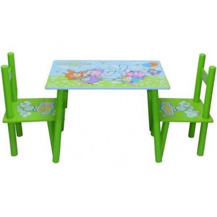 """Детский стол и два стульчика зеленые """"Смешарики"""" 0710"""