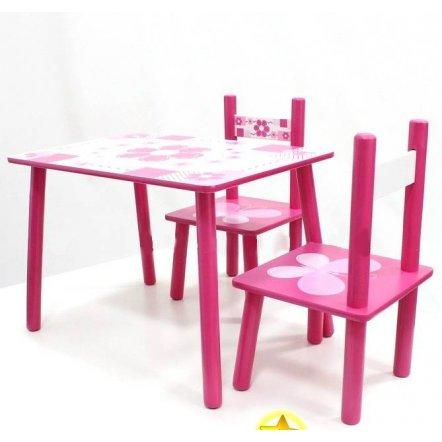 """Детский стол и два стульчика """"Ромашки и бабочки"""" 0730"""