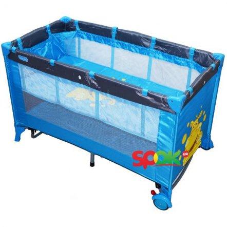 """Манеж-кровать качалка M 0818 детский голубой двухуровневый на змейке """"Bambi"""""""