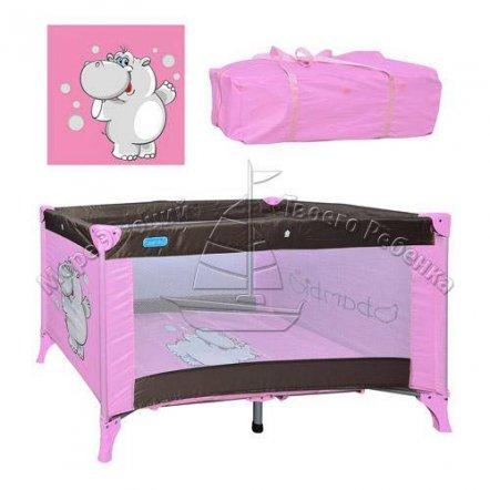 """Манеж-кровать M 0821 детский розовый+шоколад на змейке """"Bambi"""""""