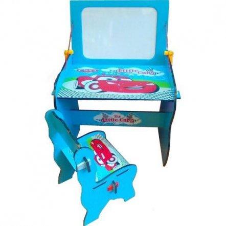 """Парта детская с мольбертом и стульчиком W 091 """"Тачки"""" голубая"""