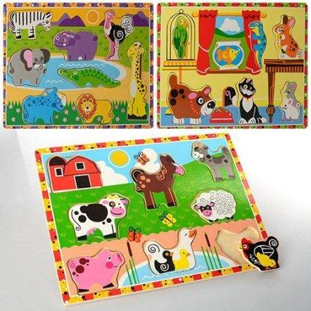 Деревянная игрушка рамка-вкладыши Животные MD 0932 большая
