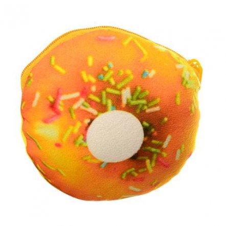Кошелек-брелок Пончик с присыпкой желтый плюшевый X12274