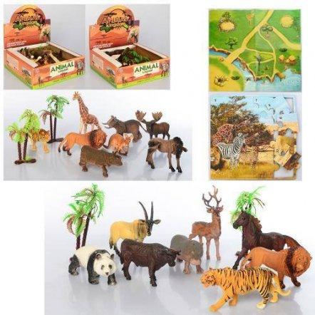 Животные дикие 8 штук+игровое поле и дерево 137-138