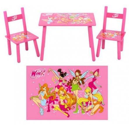 Детский стол и стулья деревянные розовые Winx M 1508