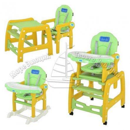 """Стульчик-трансформер для кормления 3 в 1 """"Универсальный""""  на колесиках с качалкой 1563 зеленый или голубой"""