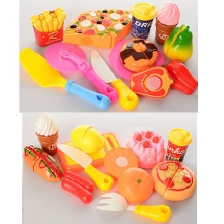 Продукты на липучках игрушечные 2 вида Пицца+сладости 170D2-170E2