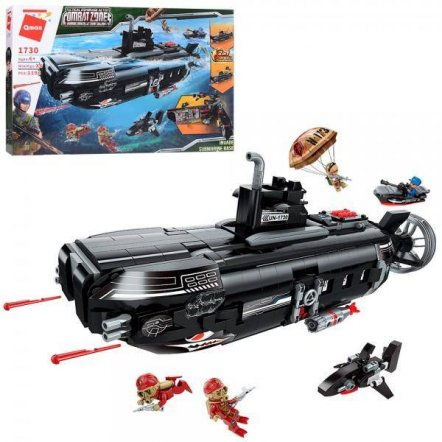 Конструктор подводная лодка+катер 1196 деталей 1730 Qman