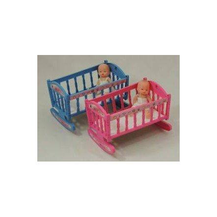 Мини кукла с кроваткой-качалкой 201 А