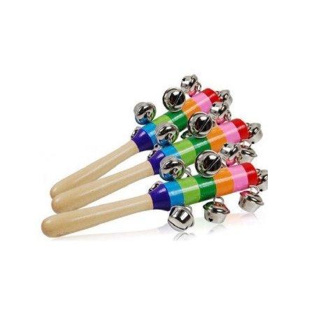 Погремушка деревянная колотушка с бубенчиками 2197