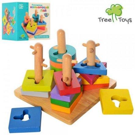 Геометрика на штырьках деревянная пирамидка-ключ MD 2370