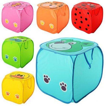 Корзина для игрушек Куб с крышкой Зверюшки М 2508 и 2508-1