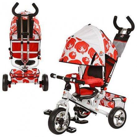 Велосипед трехколесный с родительской ручкой LE-3-03UKR красный с белым