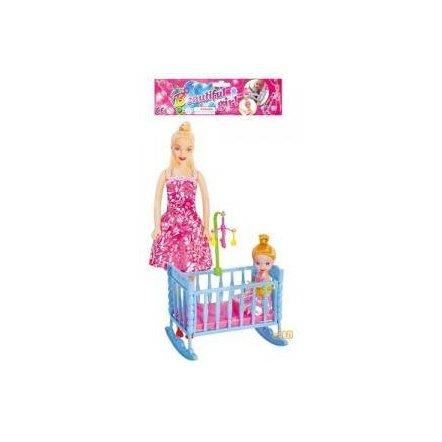 Кукла с ребенком и кроваткой 339-2