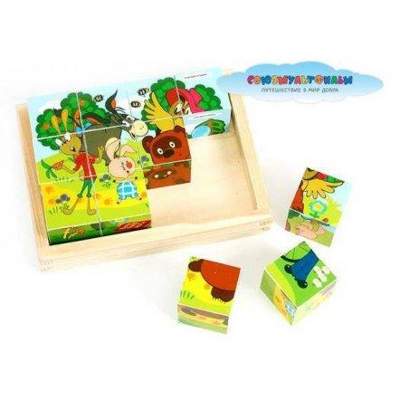 Кубики деревянные Добрые мультики GT5308