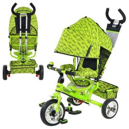 Велосипед детский с ручкой колеса Eva Foam М 5363-2-3 Turbo зеленый