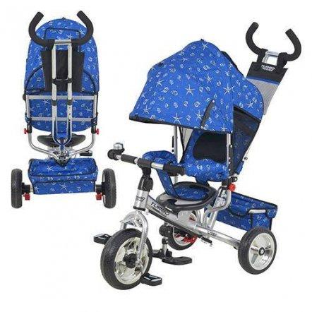 Велосипед детский с ручкой колеса Eva Foam М 5363-6 Turbo сине-серебристый