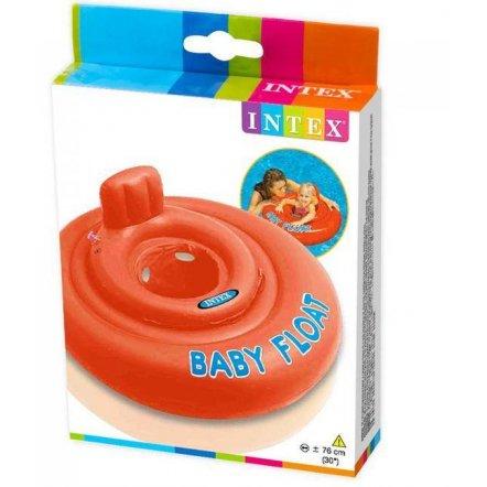 Детский надувной плотик-круг + отверстия для ног 56588 оранжевый