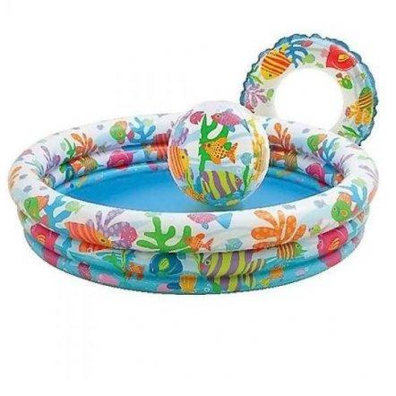 Бассейн детский надувной с кругом и мячиком 59469 INTEX