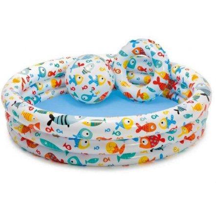 Бассейн 3 в 1 детский надувной с кругом и мячиком 59469 INTEX