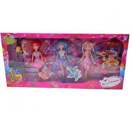Куклы Winx Винкс 3 штуки с косметикой и питомцем 63003