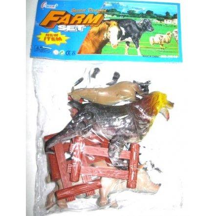 Набор фигурок Домашние животные резиновые с заборчиком 639