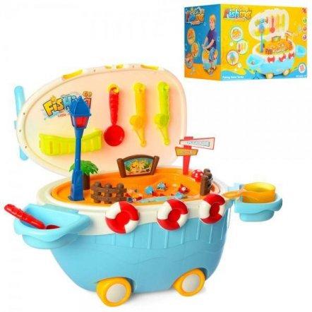 Рыбалка чемодан-корабль  2 удочки+ рыбки с музыкой и светом 668-47
