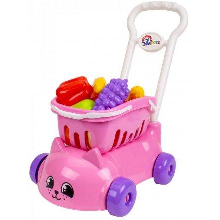 Тележка для супермаркета розовая кошка с фруктами и овощами 7563 ТехноК