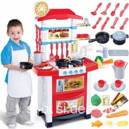 Кухня детская игровая бело-красная 889-33
