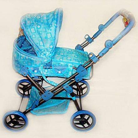 Коляска -трансформер для кукол 9368 большая голубая с мишками