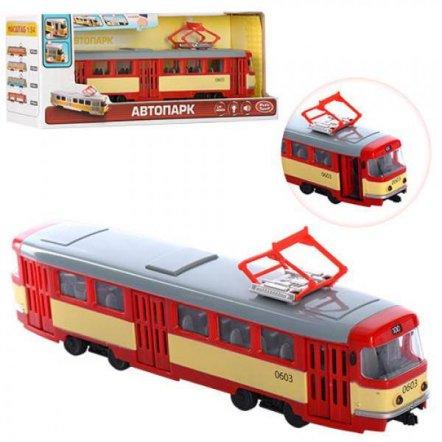 Трамвай детский с музыкой, светом и открывающимися дверями 9708-B