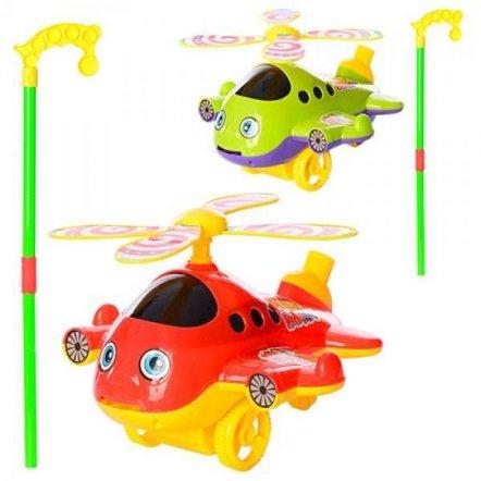 Каталка вертолет на палке со звуком вращается винт 9904