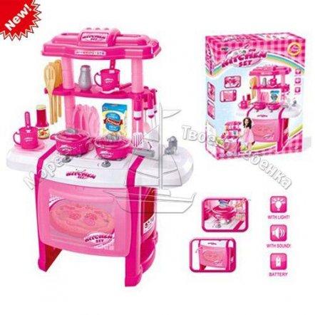 Кухня детская электронная музыкальная с духовкой розовая А 15