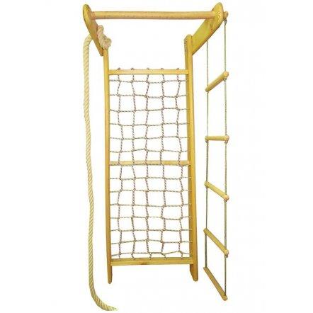 Игровой комплекс деревянный - лестница, канат и гладиаторская сетка