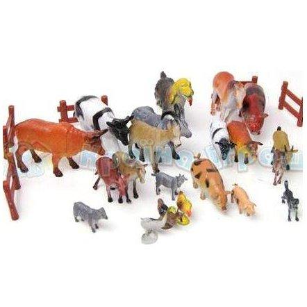 Домашние животные резиновые 638 с заборчиком и игровым полем. Большой набор