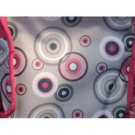 Коляска -трансформер для кукол 9346 розово-серая с кружочками Melogo