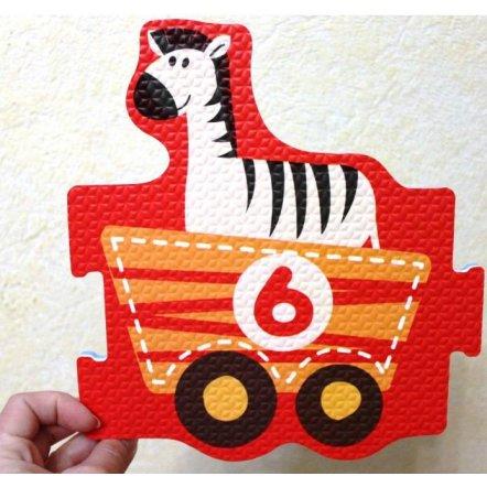 Коврик пазл текстурный Поезд с животными 2615